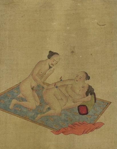 CHINE - Fin XIXe siècle  Ensemble de six peintures polychromes sur papier, représentant...