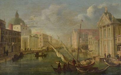 ECOLE VENITIENNE  Dans le Goût du XVIIIe siècle  Le Grand Canal à Venise à la hauteur...