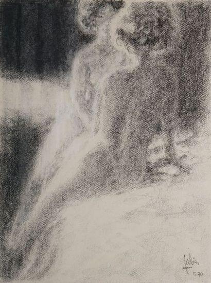 FABIEN Louis P., né en 1924  Nu au miroir,...
