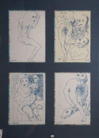 LJUBA, 1934-2016  Personnages, 1976  4 dessins...