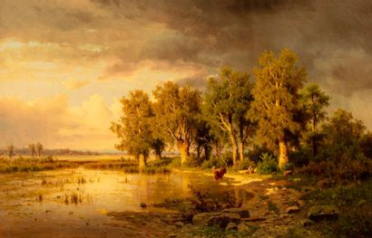 CHWALA Adolf, 1836-1900  Groupe d'arbres...