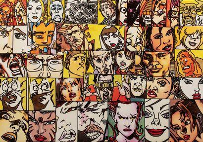 ERRO, né en 1932 40 visages, série Squair...