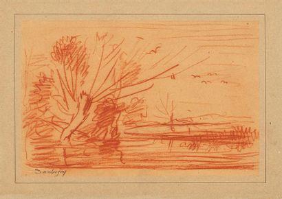 DAUBIGNY Charles François, attribué à  Arbre en bord de rivière  sanguine sur papier...