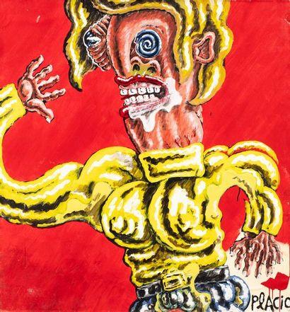 PLACID, né en 1961  Figure  peinture sur...