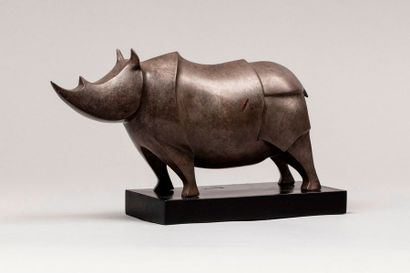 GEYMANN Guy, né en 1951  Rhinocéros  bronze...