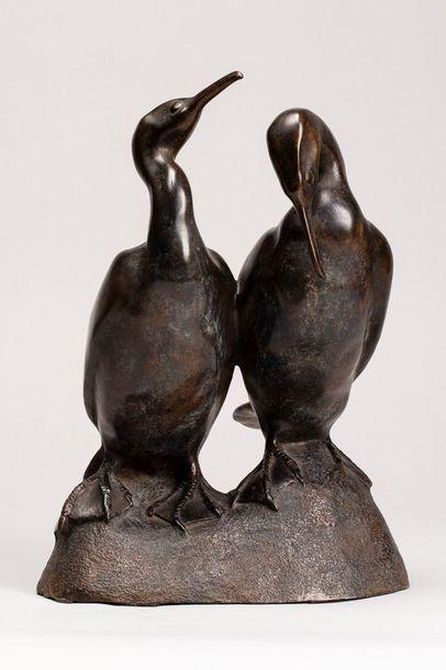 LEMONNIER Jean, né en 1950 Deux cormorans...