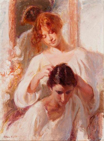 BOFILL Beltran, 1934-2009  La coiffure  huile sur toile  signée en bas à gauche,...