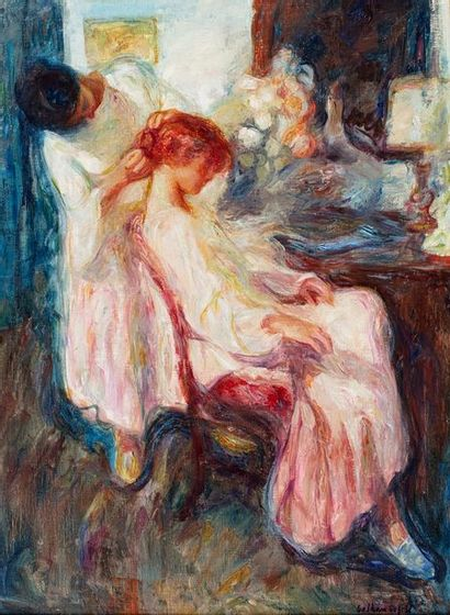 BOFILL Beltran, 1934-2009 La préparation du chignon huile sur toile signée en bas...