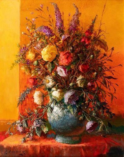 CAMBIER Guy, 1923-2008  Bouquet au vase bleu  huile sur toile  signée en bas à gauche...