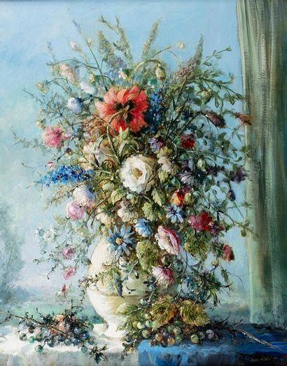 CAMBIER Guy, 1923-2008  Composition aux pavots  huile sur toile  signée en bas à...