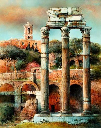 CHAPAUD Marc, né en 1941  Le Forum d'Auguste, Rome  huile sur toile  signée en bas...