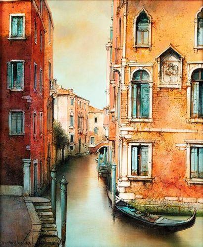 CHAPAUD Marc, né en 1941  Palais Sorenza, Venise  peinture sur toile  signée en...