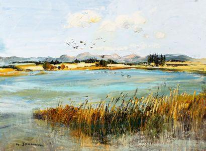 JOUENNE Michel, né en 1933  Le lac bleu  huile sur toile  signée en bas à gauche,...