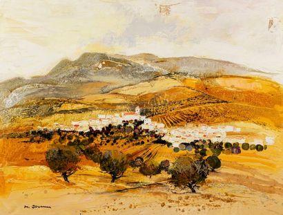 JOUENNE Michel, né en 1933  La montagne andalouse  huile sur toile (traces de papier...
