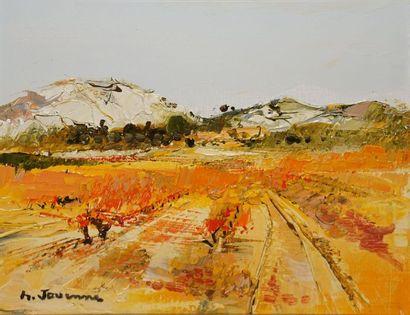 JOUENNE Michel, né en 1933  Dans les vignes  huile sur toile  signée en bas à gauche,...