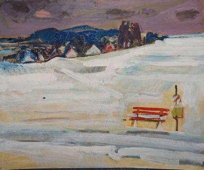 KRILLÉ Jean, 1923-1991 Le banc dans la neige huile sur panneau salissures trace...