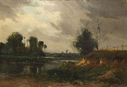 BALLUE Pierre Ernest, 1855-1928  Pêcheurs en bord de rivière  huile sur toile (vernis...