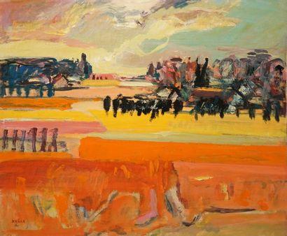 KRILLÉ Jean, 1923-1991 Campagne orange, 1990 huile sur panneau signé et daté en...