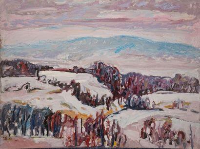 KRILLÉ Jean, 1923-1991 Paysage de neige huile...