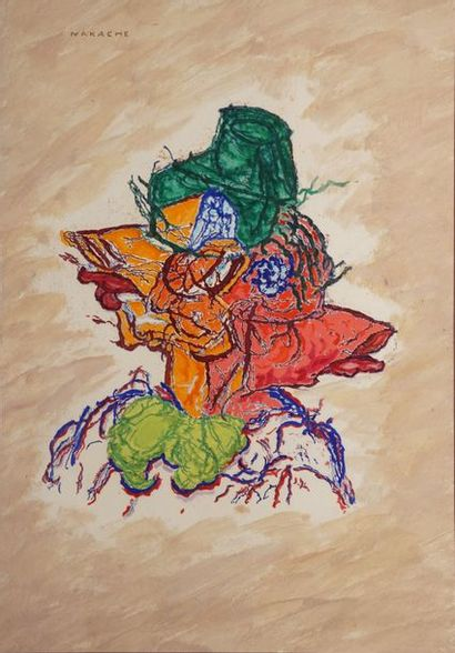 NAKACHE Armand, 1894-1976  Femme au chapeau  peinture sur papier  signé en haut...