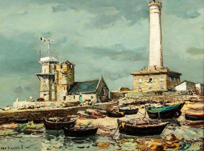 RIGAUD Jean, 1912-1999  Saint-Pierre, le sémaphore de penmarc'h et le phare, 1964...