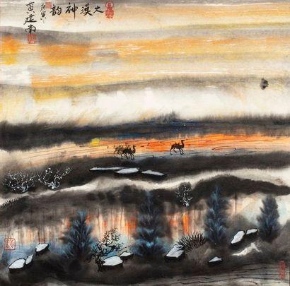 HUANG Jiannan, né en 1952 Lac au crépuscule...
