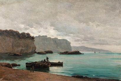 BILL Lina, 1855-1936 Barques en bord de mer,...