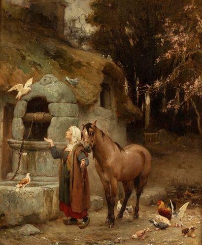 BRIDGMAN Frédéric Arthur, 1847-1928  Femme à la fontaine, 1871  huile sur toile...