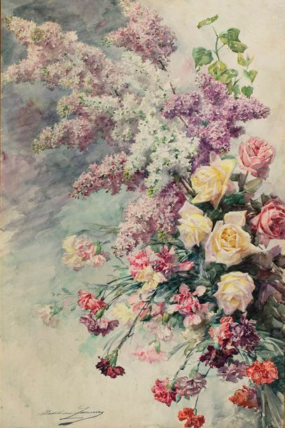 LEMAIRE Madeleine, 1845-1928  Roses et branches...