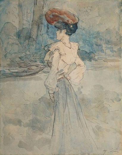 SOMM Henri, 1844-1907  Promeneuse en bord...