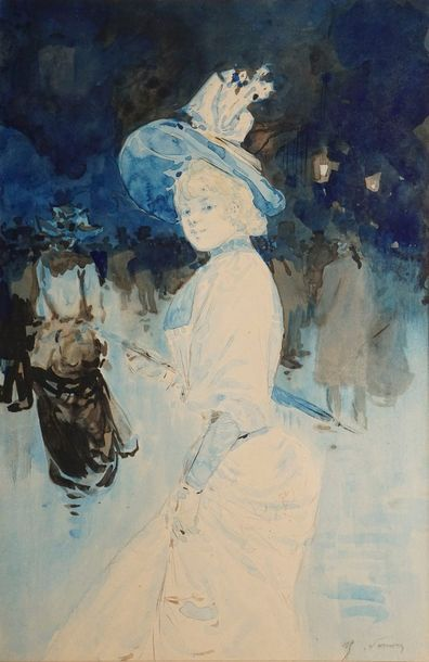 SOMM Henri, 1844-1907  Parisienne se retournant...