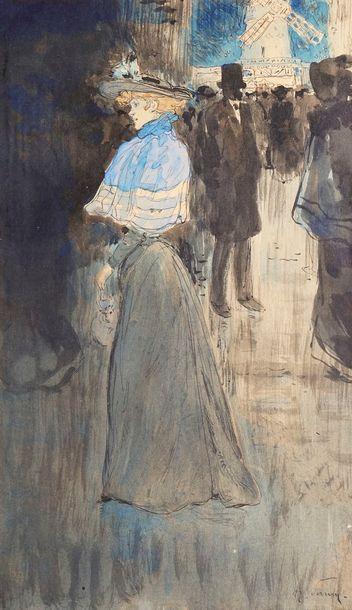 SOMM Henri, 1844-1907  Élégante devant le...