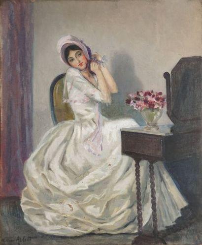 ABLETT William, 1877-1936 Coquetterie au miroir huile sur toile (manques importants)...