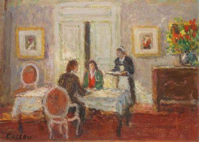 COSSON Marcel, 1878-1956  Le déjeuner  huile...