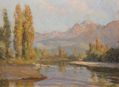 GIOT Maurice, XIX-XXe siècle  L'Isère et la chaîne des Alpes à l'île verte près...