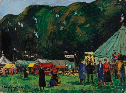 SAUTIN René, 1881-1968  La fête à Pont-Audemer...