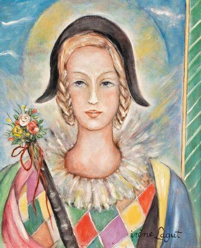 LAGUT Irène, 1893-1994  Arlequine  huile...