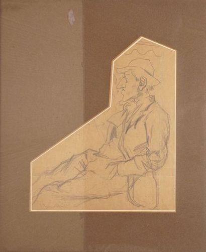 VILLON Jacques, 1875-1963  Homme assis  mine...