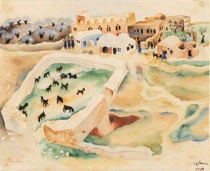 GUTMANN Nahum, 1898-1980 Paysage de campagne,...