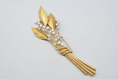 Clip de corsage en or jaune 18K (750) et...
