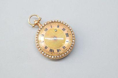 Montre de poche en or jaune 18K (750) à clé,...