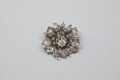 Broche pendentif fleur en alliage d'or gris...
