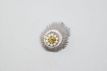 Clip de corsage en or gris 18K (750) à deux...