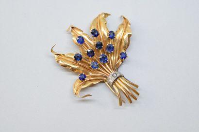 Clip de corsage bouquet en or jaune 18K (750)...