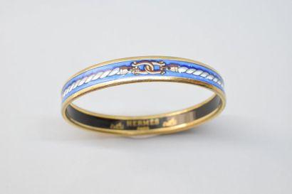 Bracelet rigide en métal doré émaillé polychrome...