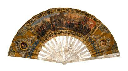 L'entrée triomphale d'Henri IV à Paris  Eventail, la feuille en papier lithographié,...
