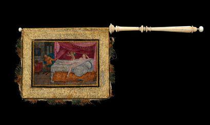 Rarissime et exceptionnel Eventail drapeau (dit aussi girouette) La feuille en peau...