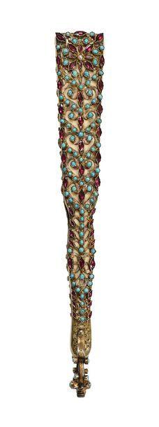 Eventail bijou  Eventail de type brisé en ivoire (Africana Loxodonta) les panaches...