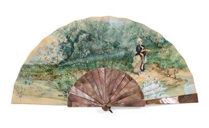 Elle nourrit les cygnes (Georges Clairin 1843 - 1919)  Eventail, la feuille en papier...