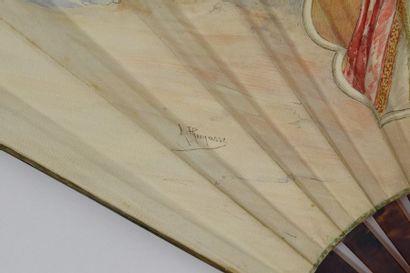 Scène orientaliste, A. Thomasse  Eventail, la feuille en peau peinte à la gouache...